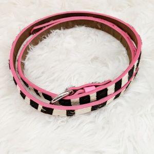 """Black White Pink Thin Zebra Print Belt 40"""""""